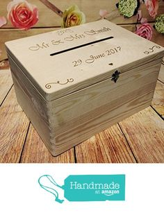 Wedding Guests Wish Post Box Wooden Box with Slot Wedding Cards Envelopes Drop in Memory Box Wishing Well Bride and Groom Personalised Present from BOS Laser Designs https://www.amazon.co.uk/dp/B06ZZPCVLX/ref=hnd_sw_r_pi_awdo_6Torzb9QXYYHB #handmadeatamazon