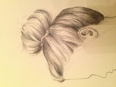 Sketch of a legit top knot/sock bun/gather all your hair on top of your head because it's sweltering out kinda thing