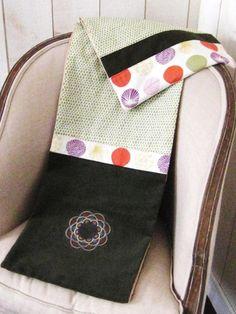 Étole écharpe femme hiver 2014 laine bouillie marron tissu japonais et velours kaki : Echarpe, foulard, cravate par filles-factory