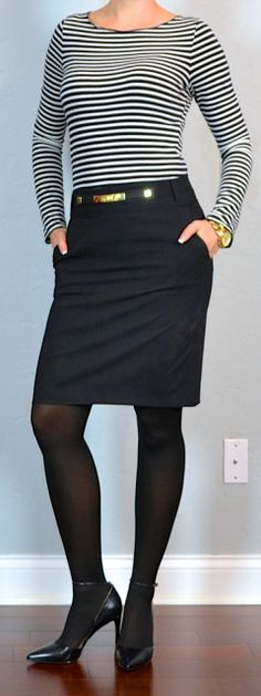 Outfit Posts: outfit post: striped shirt, black pencil skirt, pointy toe black pumps
