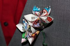 Comic Book Paper Flower Wedding Wrist Corsages   2 by QtsyThings, $48.00, get them made with some sort of video game character paper??