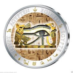 The Eye of Horus is an ancient Egyptian symbol of protection, royal power and good health. Silver Coins For Sale, Gold And Silver Coins, Egyptian Symbols, Ancient Egyptian Art, Rare Eye Colors, Custom Coins, Egyptian Goddess, Eye Of Horus, Proof Coins