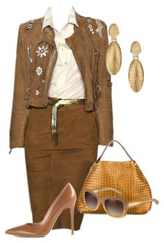 """""""Copper Tones"""" by andreaaitken ❤ liked on Polyvore featuring Blugirl, Stephanie Kantis, Bottega Veneta, Gianvito Rossi and Burberry"""