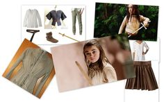 "Arya Stark - 1. Beige/white tunic top 2. Brown, fitted pants 3. Short, brown boots 4. Wooden sword 5. Brown skirt 6. Brown belt 7. Courage | Awesome ""Game Of Thrones"" Women To Be For Halloween"