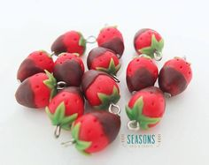 Strawberry chocolate dipped clay charm for making necklace, earrings, bracelet, etc.