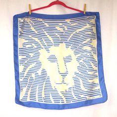 Vintage Silk Scarf Anne Klein - Blue Lion