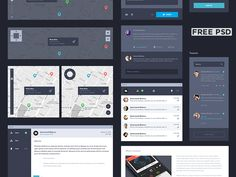 Full version of the UI Kit Dark. Free. Only for our Dribbble friends :)  Get it here.  Courtesy of UI8, enjoy.  ------ Facebook | Twitter