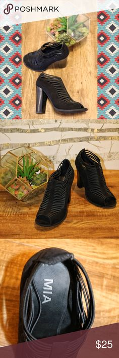 Black Heels | MIA Black bootie-ish heels with straps across the foot MIA Shoes Heels