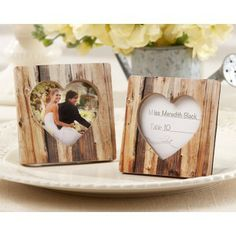 Rustic Heart Faux Wood Place Card Holder/Photo Frame