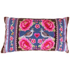 Birds Multi Flower Cushion - Denim - 30x50cm