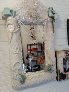 Mirror made from a vintage lace wedding dress and a 1920's Flapper dress. $149.99.