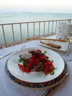 """Cena, Ristorante di """"Miramare Sea Resort & Spa"""" (Hotel), Sant'Angelo, Isola Ischia Italia (Maggio)"""