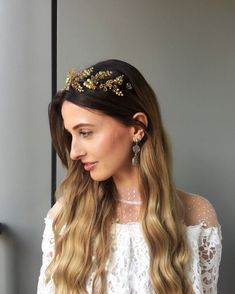 Excited to share the latest addition to my #etsy shop: Gold headband wedding headpiece adult laurel tiara greek crown gold caesar wreath bridal beaded tiara crystal head piece wedding headband
