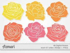 Roses Clipart / INSTANT DOWNLOAD / Digital Roses by AzmariDesigns, $3.00