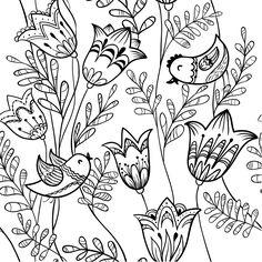 Coloriage de fleurs de printemps , Oiseau et clochette