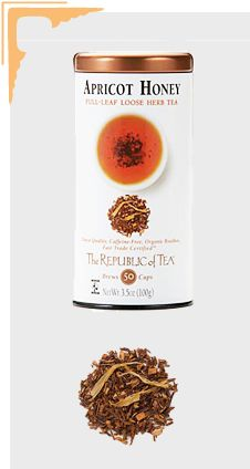 Honey adds a delicious and subtly sweet character to fine teas. The Republic of Tea's Apricot Honey Tea combines the juicy nectar of ripe apricots with sweet honey in a base of organic, Fair Trade Certified Rooibos. The result is a sublime, healthy, caffeine-free cup with fruity top notes and caramel undertones, offering a uniquely peaceful sipping experience. This honey-sweetened tea will have you ready for the demands of the week, providing energy and a clear mind.