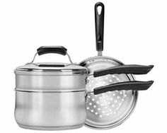 Range Kleen - Basics Saucepan with Double Boiler/Steamer Insert Set capacity Stainless steel Sauce pan Includes steamer, double boiler inserts & Cookware Set, Steam Veggies, Double Boiler, Stainless Steel Dishwasher, The Ordinary, Kitchen Appliances, Kitchen Gadgets, Kitchen Items, Home