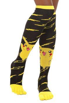Pokemon Pikachu Knee-High Toe Socks - 171668 from Hot Topic. Crazy Socks, Silly Socks, Happy Socks, Hot Topic Clothes, Badass Outfit, Nerd Fashion, Womens Fashion, Toe Socks, Leggings