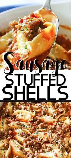 Loaded with spinach garlic sausage ricotta & smothered in marinara sauce these Stuffed Shells make a great easy family dinner idea that everyone loves. Stuffed Shells With Meat, Spinach Stuffed Shells, Stuffed Shells Recipe, Italian Stuffed Shells, Sausage Recipes, Beef Recipes, Cooking Recipes, Quiche Recipes, Salsa Marinara