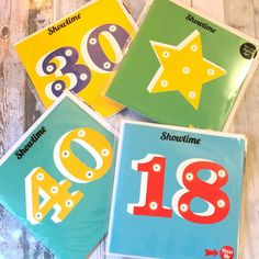 SHOWTIME *LIGHT UP LED CARDS. Star, 18th, 30th, 40th Birthday. Fabric Bunting, Bunting Banner, Message In A Bottle, Birthday Greeting Cards, 40th Birthday, Party Gifts, Light Up, 30th, Gift Ideas