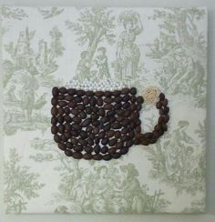 Coffee bean mug by Vanessa McKibben on Victorian Fabric on 8x8  wood