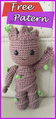 Free Crochet Pattern: Potted Baby Groot from Guardians of the Galaxy Kostenlose Häkelanleitung: Baby Groot im Topf von Guardians of the Galaxy Crochet Animal Patterns, Crochet Patterns Amigurumi, Amigurumi Doll, Crochet Dolls, Knitting Patterns, Baby Patterns, Knitting Toys, Free Crochet Doll Patterns, Baby Knitting
