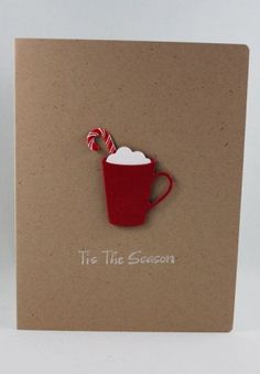 Winter Mug Paper Handmade Christmas Card Tis the by TrioCards Homemade Christmas Cards, Christmas Cards To Make, Xmas Cards, Diy Cards, Homemade Cards, Handmade Christmas, Holiday Cards, Christmas Crafts, Christmas Ideas