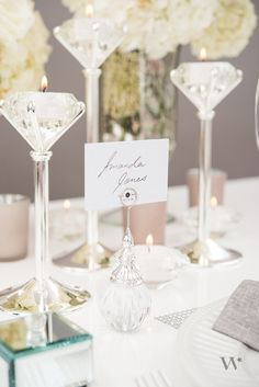 Our ornamental orb placecard holders pair perfectly with our diamond tealight candle holders for an elegant look!  The perfect way to add some glamorous sparkle to wedding reception tables.