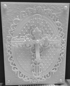 Spellbinders Floral Ovals, Classic Ovals, Crosses dies, Swiss Dots embossing folder, Brocade embossing folder, Liquid Pearls