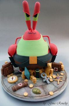 This is a cake I've just made for my daughters I didn't have a clue what to make her until I saw the little list she wrote with ideas on what she . Mr Krabs as Lara Croft Cake Unique Cakes, Creative Cakes, Fondant Cakes, Cupcake Cakes, Cupcakes, Realistic Cakes, Biscuit, Movie Cakes, Mr Krabs