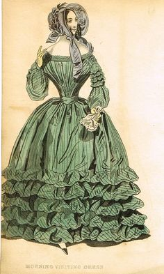 """Lady's Cabinet Fashion Plate - """"MORNING VISITING DRESS (Green)"""" - Hand-Colored Engraving - 1840"""