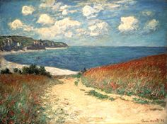 Meadow Road to Pourville, Claude Monet.  Love the sandy path to the sea and the clouds!