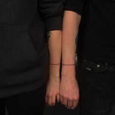 ➖ original and unique matching forearm line tattoo on couple ➖