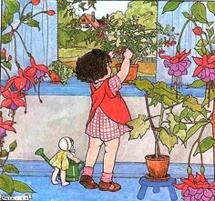 Illustration by Marie/Rie Cramer (Dutch. Vintage Children's Books, Vintage Cards, Children's Book Illustration, Vintage Pictures, Vintage Prints, Childrens Books, Illustrators, Book Art, Drawings