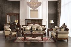 This Antique Style Luxury Sofa Set features chenille fabric, hand carved exposed wood frames, and decorative accent pillows which will liven up any formal living room. Formal Living Rooms, Living Room Sets, Living Room Furniture, Living Room Decor, Furniture Sets, Luxury Chairs, Luxury Sofa, Luxury Living, Victorian Living Room