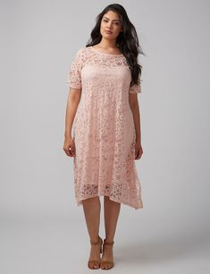 Short-Sleeve Lace Swing Dress
