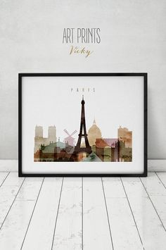 Paris watercolor print, Paris watercolor poster, Wall art, Paris skyline, cities…