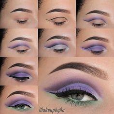 Purple and green pretty makeup #tutorial #evatornadoblog