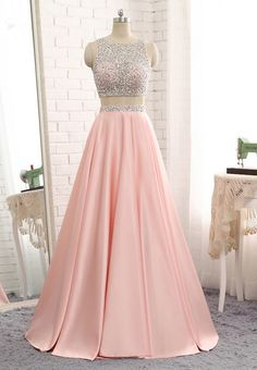 926eea17e94 Pink Prom Dress Luxury A-line Satin Beaded Cheap Two Piece Sexy Back Hole Prom  Party Gown