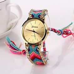 Women Big Circle Dial National Hand Knitting Brand Luxury Lady Watch C&D-278 | MiniInTheBox