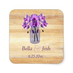 Rustic Mason Jar Purple Orchids Wedding Sticker