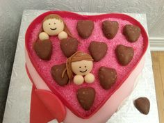 Box of Chocolates Cake with girls popping out! Happy Valentine's Day!  Visit DEElisses on FB for more cakes!