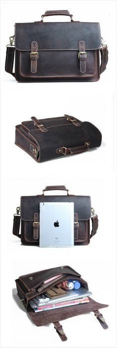 Image of MEN'S BAG LEATHER BAG VINTAGEMEN'S BAG HANDMADE CRAZY HORSE LEATHER BRIEFCASE MESSENGER BAG W4