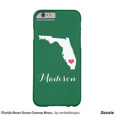 Florida Heart Green Custom Monogram Barely There iPhone 6 Case