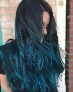 Ombre Hair Color, Hair Color Balayage, Blonde Color, Cool Hair Color, Blue Ombre, Ombre Brown, Purple Hair, Hair Colour, Turquoise Hair Ombre