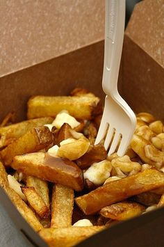 poutine (hot chips, cheese curds and gravy)