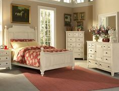 Classic Country Style Bedrooms with Wooden Material : Old Pink Carpet Country Style Bedrooms White Frame Bed
