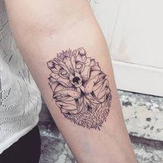 Linework Hedgehog Tattoo by _favry