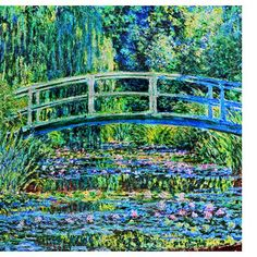 Claude Monet: The Japanese Footbridge and the Water Lily Pool, painted in Enhanced with modern HDR colors / lightning, this old master painting looks even more vibrant and beautiful than before. Abstract Pictures, Lily Pond, Claude Monet, Photo Black, Water Lilies, Watercolor Landscape, My New Room, Poster Wall, Bathroom Rugs