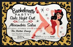 Do you love that rockabilly, retro, pin-up girl style? If so, then check out our adorable new Leopard Print Pin-Up Bachelorette party invite!! www.delightinvite.com
